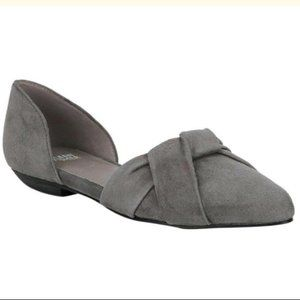 Eileen Fisher Knotted Suede Flats Shoes Gray 6.5